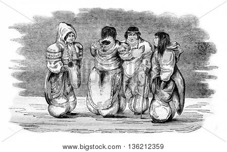 Costume of Eskimos women, vintage engraved illustration. Magasin Pittoresque 1836.