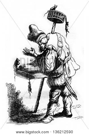 A grotesque Beggars, vintage engraved illustration. Magasin Pittoresque 1836.