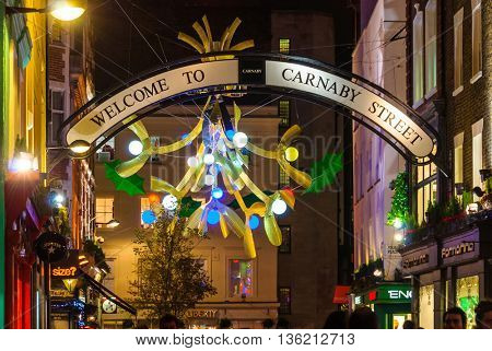 LONDON, UK - CIRCA DECEMBER 2011: Christmas decoration at Carnaby Street.