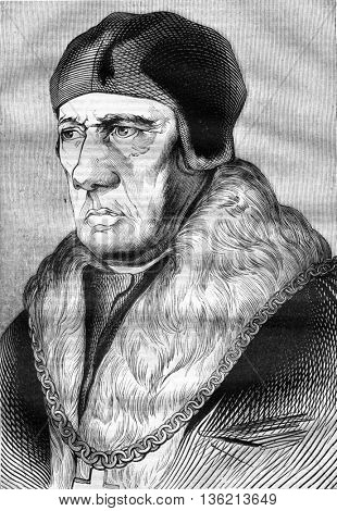 Portrait believed to be that of the father of Thomas More, vintage engraved illustration. Magasin Pittoresque 1836.