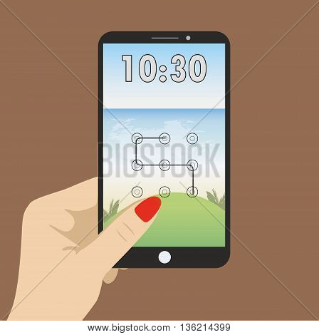Hand holding smart phone the screen saver with a graphical password and clock.
