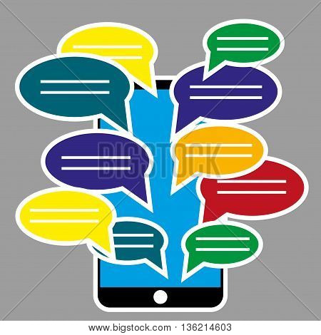 Black smartphone with blank speech bubbles for text. Text messaging design concept. Eps 10 vector illustration