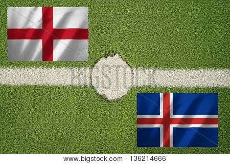 england and iceland flag on football green field and haft line - can use to display or montage on product or concept of challange