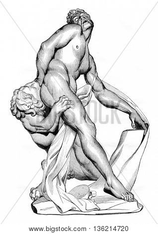 Museum of Louvre, Modern Sculpture, Milo of Croton, vintage engraved illustration. Magasin Pittoresque 1836.