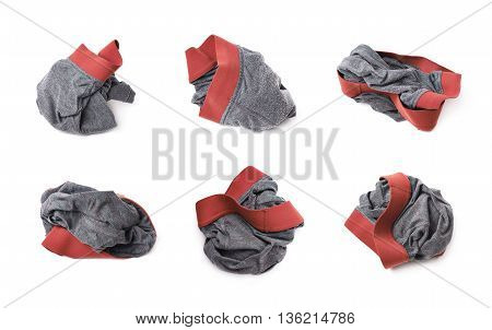 Crumpled male underpants isolated over the white background, set of six different foreshortenings