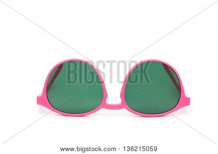 Beautiful pink glasses on isolate white background