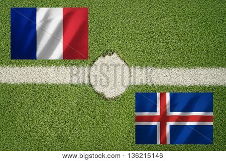 france and iceland flag on football green field and haft line - can use to display or montage on product or concept to challenge