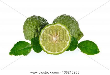 whole and half cut Bergamot with lime leaf on the white background