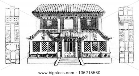Home of a Chinese trader, in Canton, Plans of ground floor and upper floor, vintage engraved illustration. Magasin Pittoresque 1836.