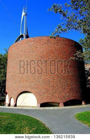 Cambridge Massachusetts - September4 2009: Eero Saarinen's modern circular chapel at the Massachusetts Institute of Technology
