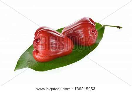 rose apple fruit with leaf on white background