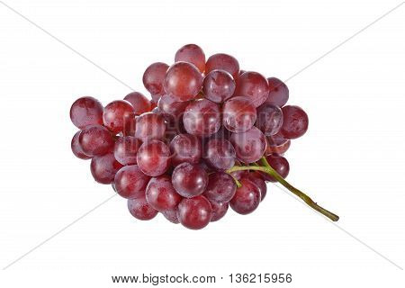 bunch of grapes with stem on white background
