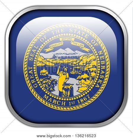 Flag Of Nebraska State, Square Glossy Button