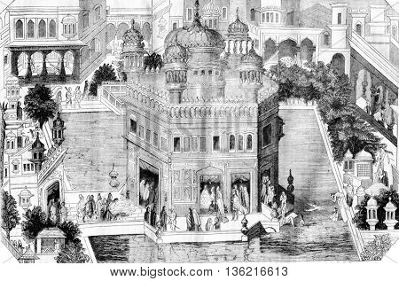 View of the golden temple, pelvis and part of the city of Amritsar in the kingdom of Lahore, vintage engraved illustration. Magasin Pittoresque 1836.