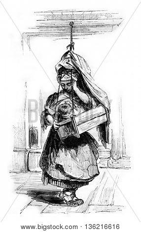Finnish cradle, vintage engraved illustration. Magasin Pittoresque 1842.