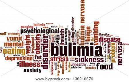 Bulimia word cloud concept. Vector illustration on white