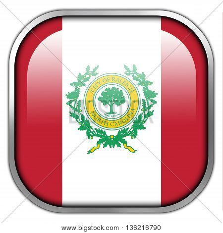 Flag Of Raleigh, North Carolina, Square Glossy Button