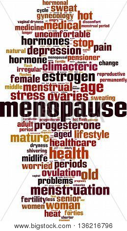 Menopause word cloud concept. Vector illustration on white