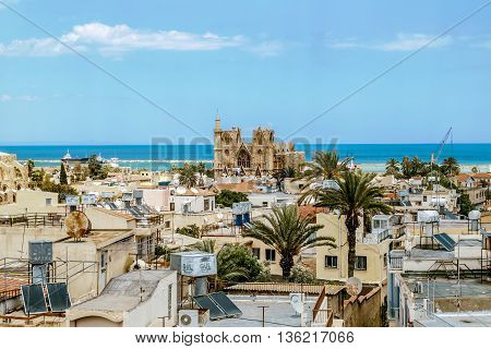 May 24 2016.Famagusta.The roofs of the houses and the St. Nicholas Cathedral mosque Lala Mustafa Pasha in the old town of Famagusta .Northern Cyprus.