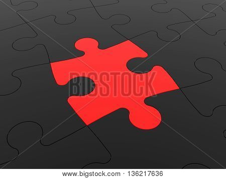 Puzzle solution concept. One red around black. 3D illustration.
