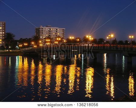 Night Light Reflections On Water, Wood Bridge Island Cape Town South Africa 44