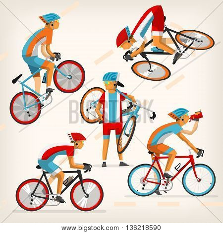 Set of colorful bicycle riders training for competition at cycling track