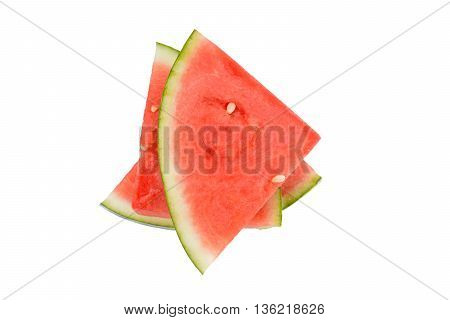 stacked watermelon slices isolated on white background