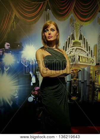 Da Nang, Vietnam - Jun 20, 2016: Angelina Jolie wax statue on display at Ba Na Hills mountain resort. Angelina Jolie Pitt is an American actress, filmmaker, and humanitarian.