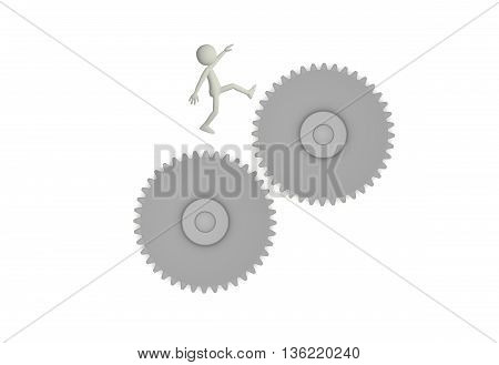 3d render of character jumping between two gears on white background