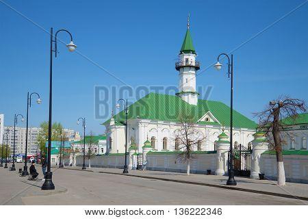 KAZAN, RUSSIA - MAY 02, 2016: The mosque of Al-Marjani in the Old Tatar Sloboda, sunny may day. Religious landmark  of the city Kazan, Tatarstan