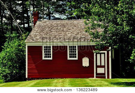 Jaffrey Center New Hampshire - July 11 2013: One room District 11 Little Red School House built in 1822
