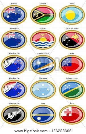 Set Of Icons. Flags Of Australia, Oceania, Polynesia, Micronesia And Melanesia.