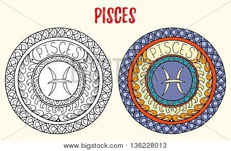 Zodiac signs theme. Black and white and colored mandalas with pisces zodiac sign. Zentangle mandala. Hand drawn mandala zodiac for tattoo art, printed media design, stickers, coloring book pages.