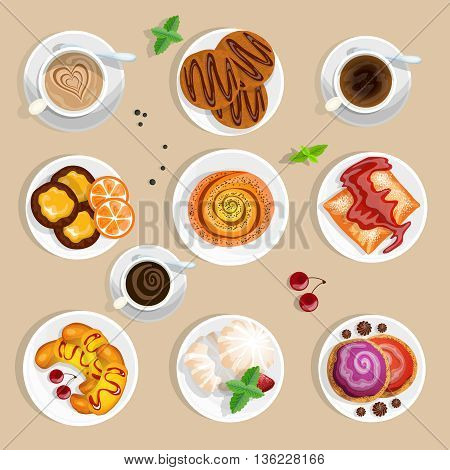 Pastry Top View Set. Coffee And Sweets Vector Illustration. Confectionery Cartoon Symbols. Coffee And Sweets  Design Set. Sweet Pastry Isolated Set.