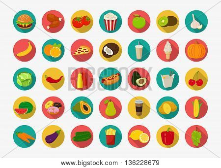 Color food icons set. Fruits and Vegetables icons. Fast food icons. Modern flat design. Vector illustration