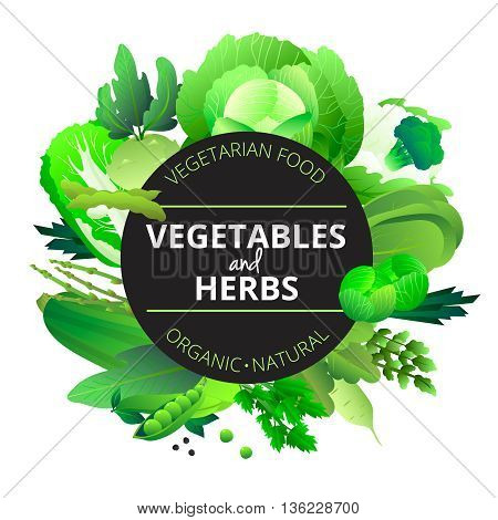 Natural organic vegetables and herbs round frame with cabbage courgette celery and pea green abstract vector illustration