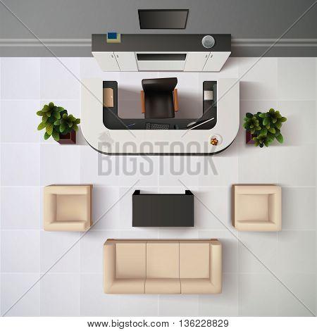 Reception Office Interior Background. Reception Vector Illustration. Workplace Interior Design. Reception Realistic Decorative Illustration. Reception Top View Illustration.