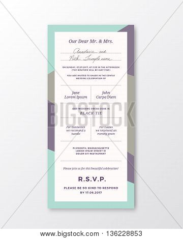 Vector Wedding Invitation Template. Modern Typography and Pastel Violet, Blue Colors. Classy Design Card with Soft Realistic Shadow. Isolated.