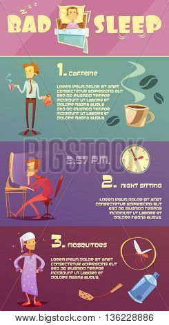 Color infographic depicting reason bad sleep caffeine night sitting mosquitoes vector illustration