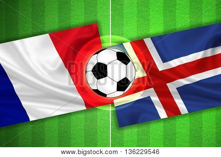 France - Iceland - Soccer Field With Ball