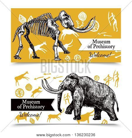 Horizontal welcome to museum of prehistory banners with sketch hand drawn mammoth and its skeleton on background with rock paintings isolated vector illustration