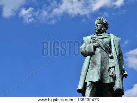 Bronze statue of Daniele Manin italian patriot and President of Venice Republic during 1848 revolt against Austrian Empire made by artist Borro in 1875 (with copy space)