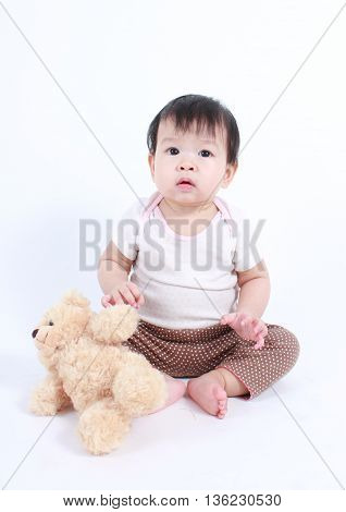 Asian baby with teddy bear (white background)