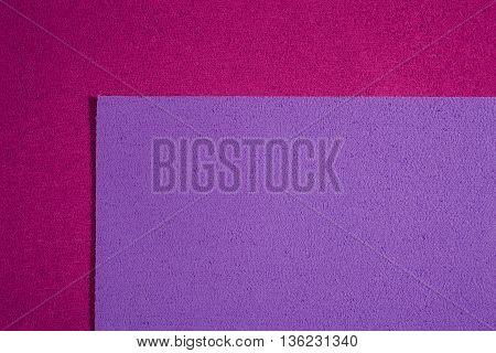 Eva foam ethylene vinyl acetate light purple surface on pink sponge plush background