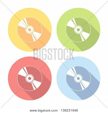 Compact Disk Flat Icons Set