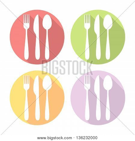 Kitchen Silverware Flat Icons Set