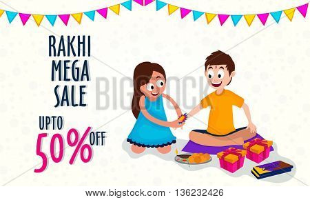 Rakhi Mega Sale Poster, Sale Banner, Sale Flyer, Upto 50% Off, Creative Background with illustration of sister tying rakhi to her brother's wrist, Indian Traditional Festival, Raksha Bandhan.