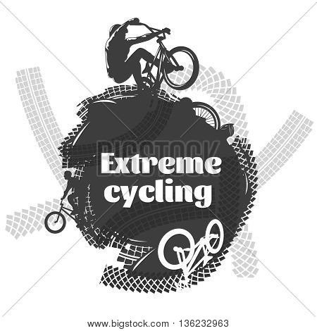 BMX extreme cycling design with  bicyclists black and grey traces around of white inscription vector illustration