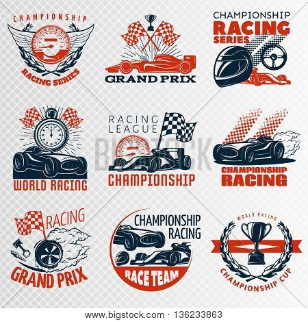 Racing emblem set in color different shapes with descriptions championship racing racing league grand prix vector illustration