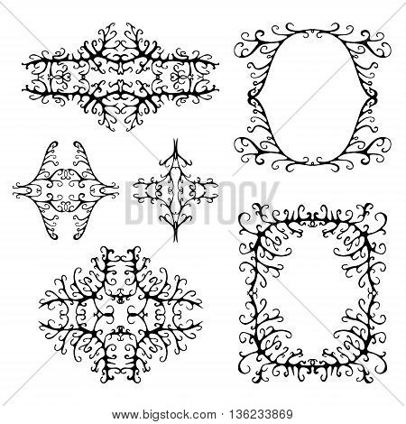 stock vector abstract leaf set of frame. summer design elements for template